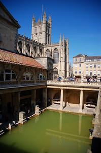 In the Roman baths in Bath.