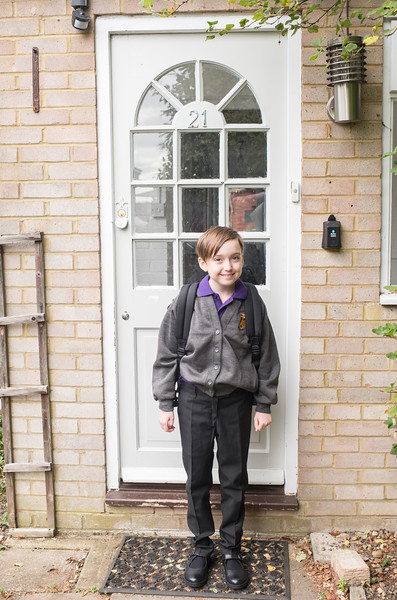 First day of school in the UK!  First time in a school uniform, first time starting school in September, first time walking to school.
