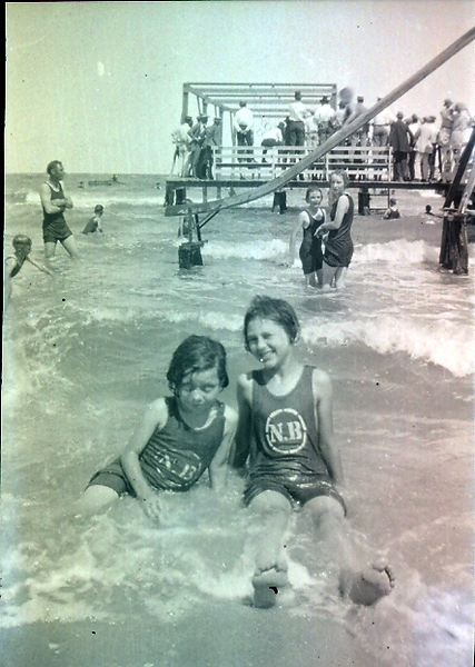 Mom with her best buddy, Dicke Burke at North Beach (rented bathing suits) in Corpus Christi