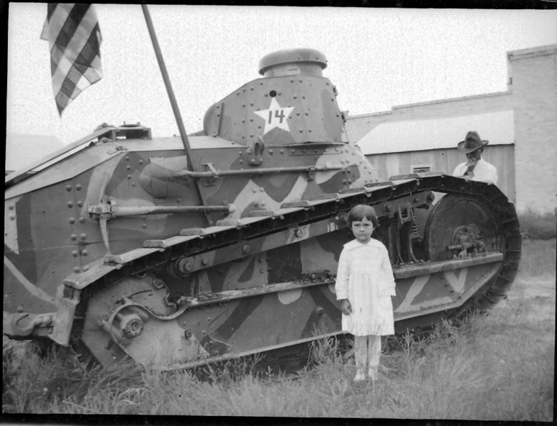 WWI tank, which was on display at the Beeville Courthouse.. Mom again, perhaps around 1915