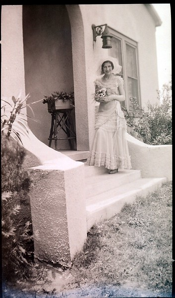 Frances Delores Stephenson on the front steps of the Madison home.