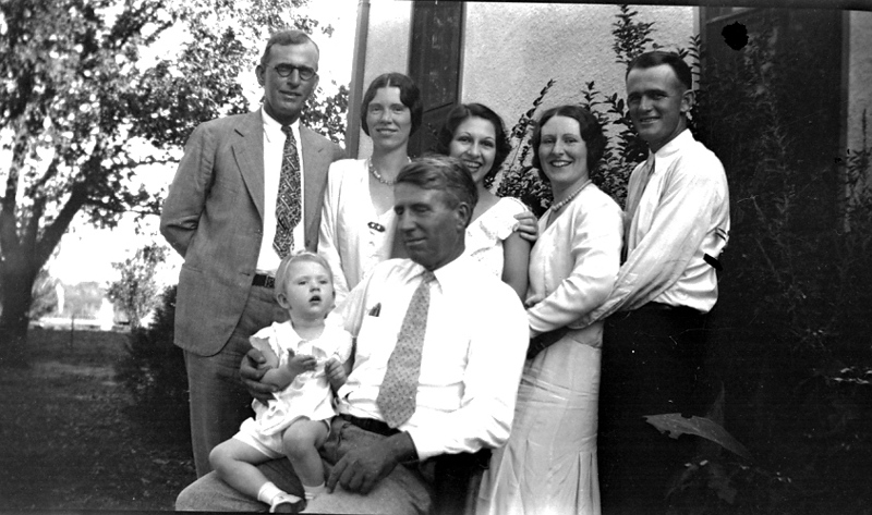 Left to Right, back row: James (Jim) Goodwin of George West, married to Winifred Cecelia Stephenson, Mom, Frances Delores Stephenson, Marion Agnes Stephenson and her husband, Clarence Joseph (Joe) McBride of Laredo , and in William Charles Stephenson's lap is Cecelia Goodwin who eventually married Gus Wueste of San Antonio..