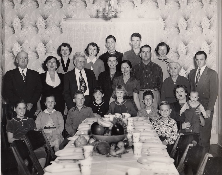 ThanksGiving 1952, at W.C. Stephenson's home on Madison. Back Row: Joan Frances McBride, Joyce Ann McBride, James Francis Goodwin III, Dennis Patrick McBride, Sr.,Bridgett Ann Goodwin; Second Row:  Clarence Joseph McBride, Marion Agnes McBride, William Charles Stephenson, Winifred Cecelia Stephenson, Frances Delores Stephenson, Hilary Paul Gerdes, Antonia Frances Meyer (Dad's mother), John Harold Kelly, Sr.; Front Row: Marion Patricia McBride, Kathleen Rachel Goodwin, William Charles Goodwin, Katherine McBride, Margaret Janice McBride, Stephen Charles Gerdes, Francis Paul Gerdes, Mary Joyce Goodwin, James Patrick Kelly.