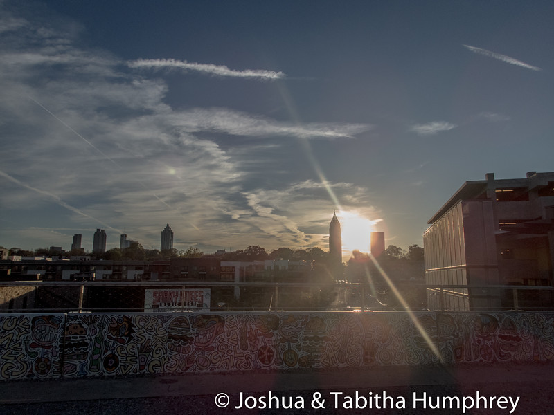 Atlanta skyline from the Beltline. Taken from the bridge over North Ave.