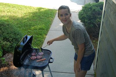 Ellen christening the BBQ
