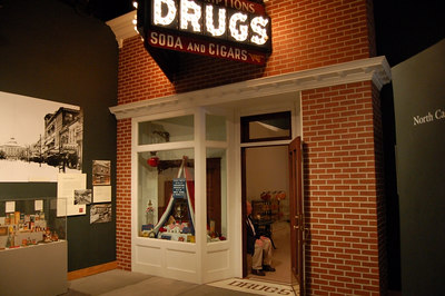 a real drugstore from downtown raleigh that was moved into the museum