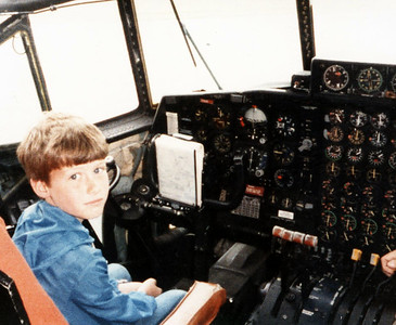 David in the pilot's seat of a C-130 in 1984