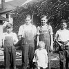 Left to right: Nobel Johnson, Elmer Johnson, Betty May Swanson, <br /> Alvin F. Johnson Sr., Edward G. Johnson.  Circa 1929-1930