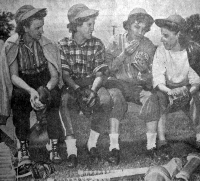 Rella Swamp Friday June 4, 1943 Rockford Girls Team, 3rd from left