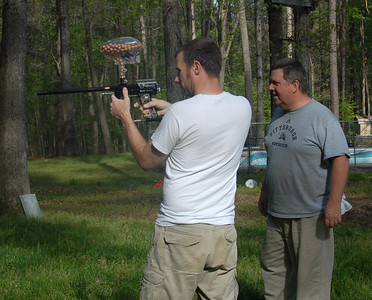showing my Dad how to operate the Spyder paintball gun