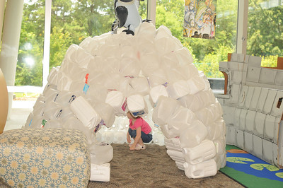 a really cool igloo made with milk jugs