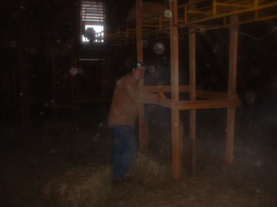 David Evans throwing hay down the chute