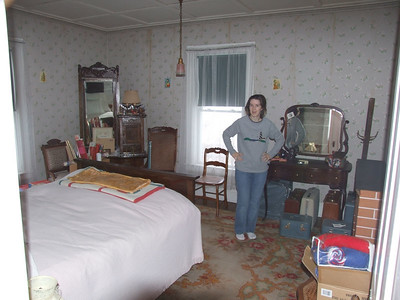Ellen in one of the bedrooms of the old farmhouse
