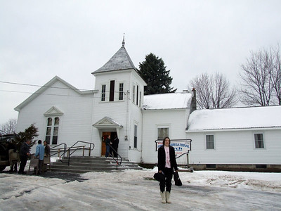 ellen in front of the church