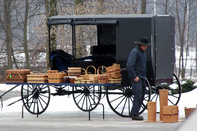 Amish selling baskets at Wal-Mart