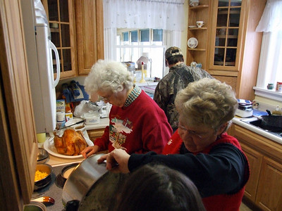 preparing Christmas dinner