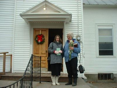 Ellen & Linda outside their Church