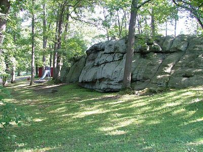 these rocks in the Reedsville town park have provided hours of fun for little boys for many years