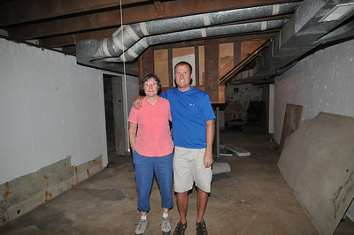 Carol and David Friend in the basement