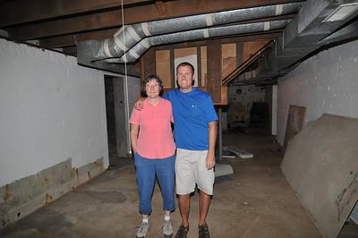 Carol and David Friend in the basement