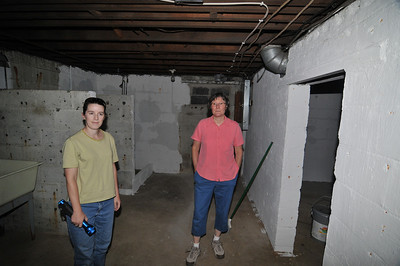 Ellen and Carol exploring the basement