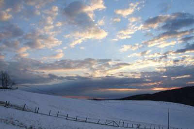sunset on the Aurora Pike outside Terra Alta