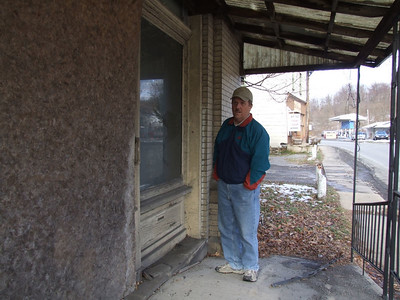 dad checking out the old bank in Reedsville