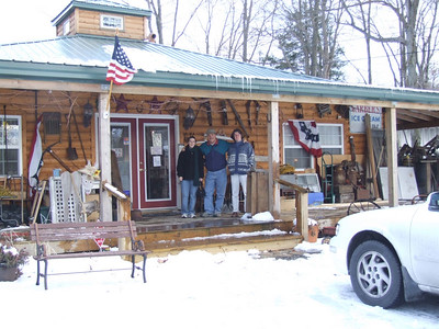 outside an antique shop at the top of the mountain