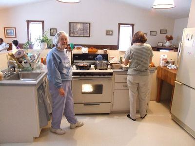 grandma & mom in the kitchen