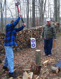 David & Bob chopping wood.