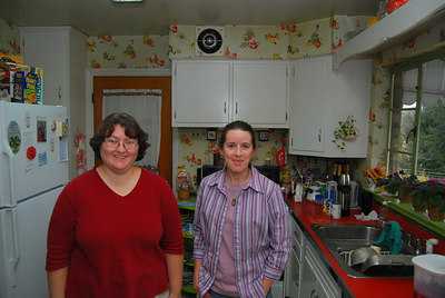 Kristin & Ellen in the kitchen at the Covers