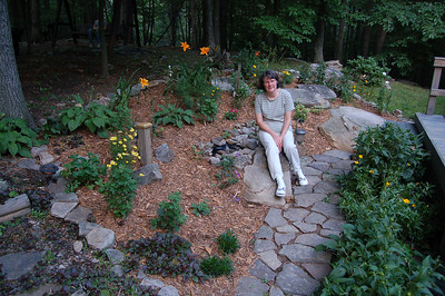 Mom with her new flower garden