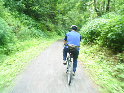 Dad riding on the trail