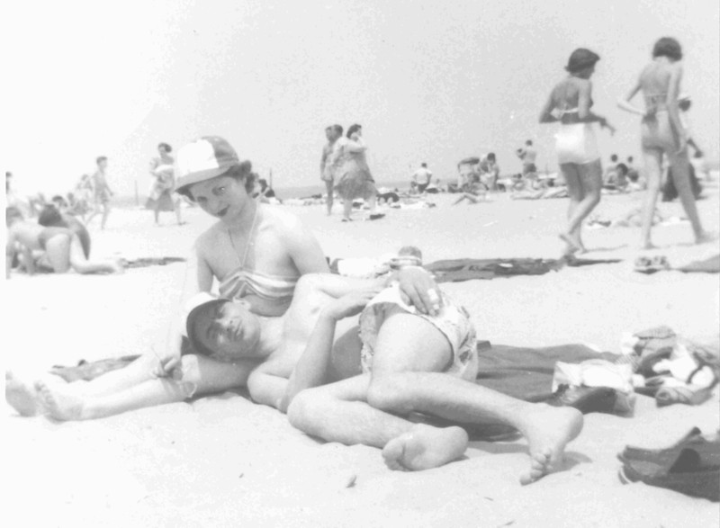 My parents at Lake Michigan beach, Chicago, circa 1949