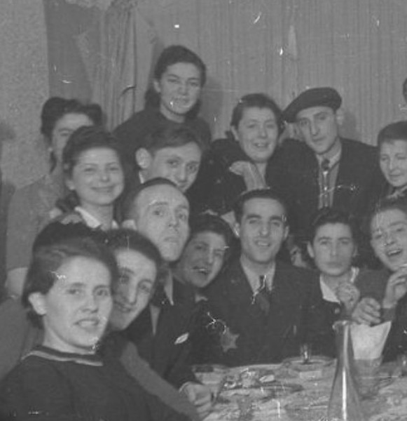 Lodz Ghetto, possibly January 1940, Regina is smiling on left