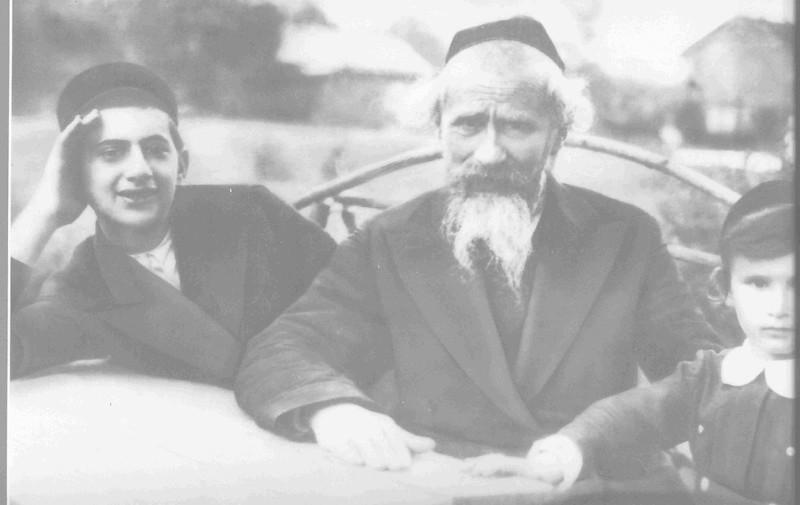 l. to r.: Yedidyah (Dan) Lipmanovich (my father), Akiva Lipmanovich (his father), Lipush Poloshinsky (Dan's first cousin), countryside of Lodz, 1934.