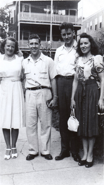 1951 Rita, Tippy, Ed & Nora outside the Lithgow Street Home