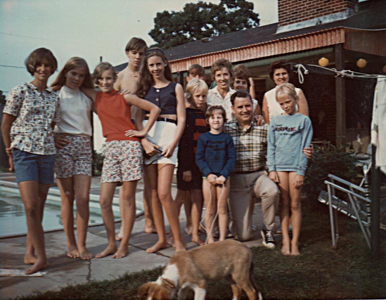 1968 At Winns House<br /> Front Row: 1st 3 KAthleen Winn's Friends, Kathleen Winn, Sarah Lindsay, Eileen Winn, Ed Larkin, Susan Lindsay<br /> Back Row: Jim Larkin, Dee Larkin, Nora Larkin, Nancy Monahan, Katie Winn