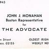 John Monahan card