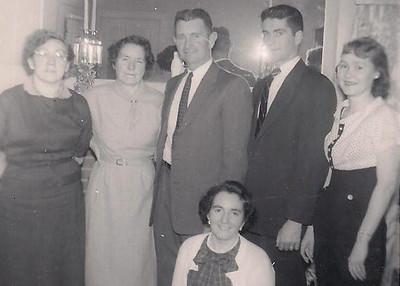 Standing: Frances, Margaret, Pat, Jack & Ann Monahan (Jack's friend)<br /> Seated: nancy