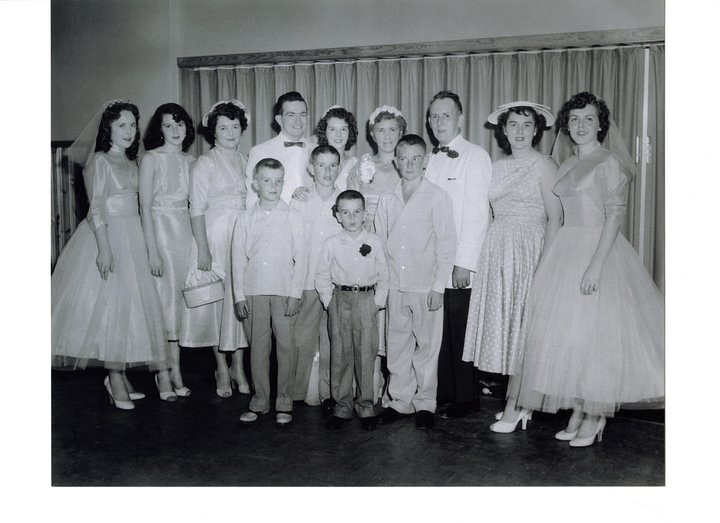 HOWLEY PICTURE <br /> Violet's wedding 1957/59? from left to right/back are<br /> Jeanie, Phyllis, Eileen, Paul Doherty, Violet, my mother, father, Rita, Marylou----- front row, left to right are Bobby, Paul, Jummy, and Vincent---