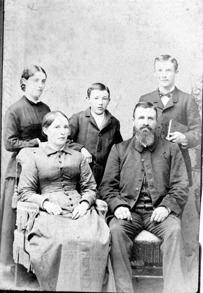 Front Row: Adelia and Emory Esmond Hall<br /> Back Row: Zetia, Charles and Rollin Hall<br /> Abt. 1880