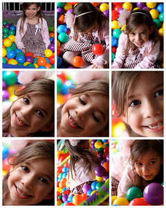 Girl in ballpit collage available for purchase