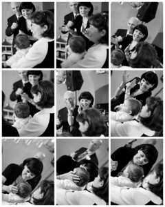 Kiss from mama collage in black and white