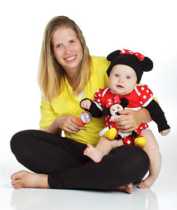 Mom and Baby in MInnie Mouse Costume