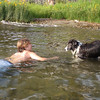 Billy (14) teaching  Dallas (15) new tricks.  He will jump off a dock and swim, but not launch from land.  Billy got him to do it.. Go Billy!!