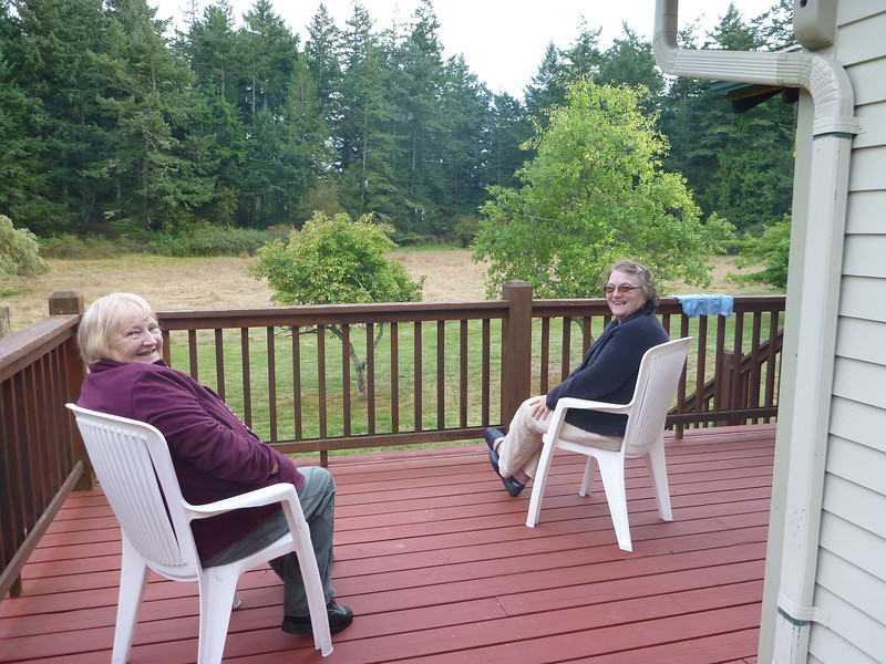 Imelda and Heather on the deck enjoying the last remains of summer 2013.