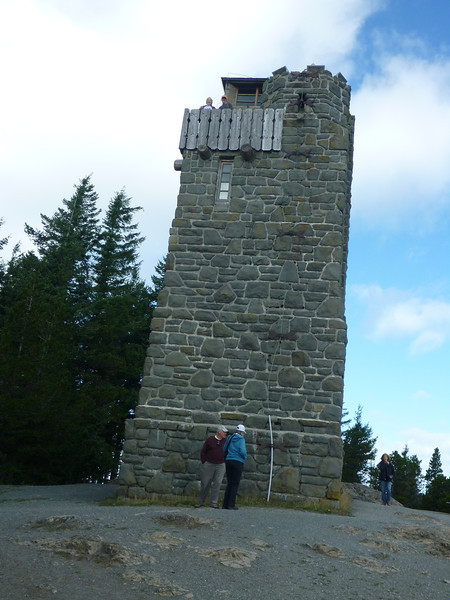 Imelda (top left) and Lynn (orange cap)  up on the Mt. Constitution Tower... look up!