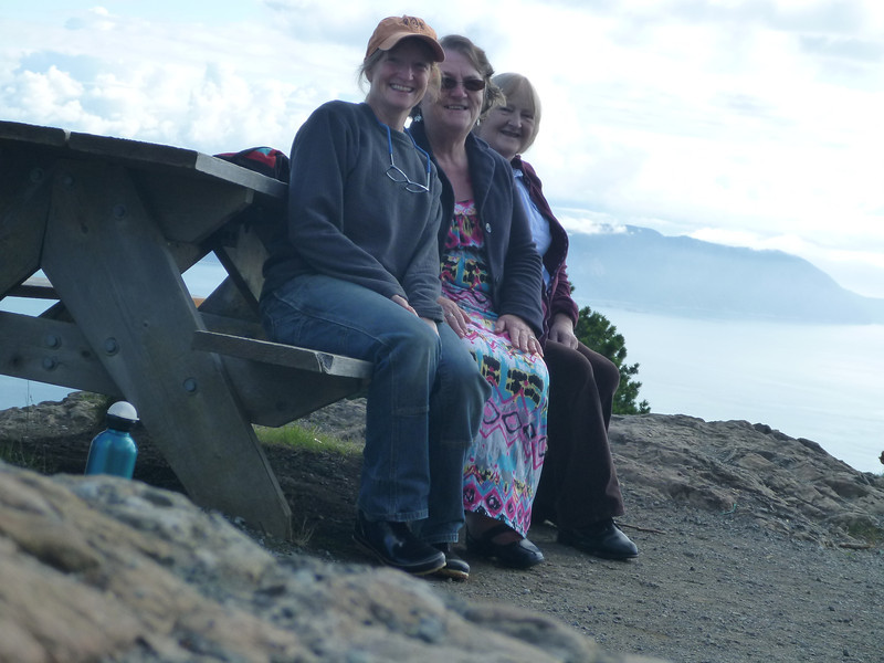Lynn, Heather, and Imelda on Mt. Constitution. So foggy we could not see Baker.    Goodbye summer. Hello autumn.