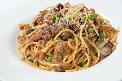 Spaghetti with Braised Lamb Closeup